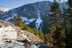 Mountain snowy landscape with rock path Stock Image