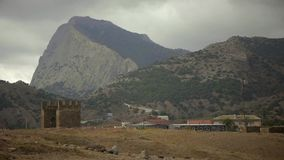 Mountain Sokol from the Genoese fortress. In Sudak stock video