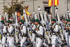 Mountain soldiers marching in Spanish National Day Army Parade. Madrid, Spain - October 12, 2017: Mountain soldiers marching in Spanish National Day Army Parade Royalty Free Stock Photos