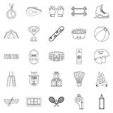 Mountain sports icons set, outline style. Mountain sports icons set. Outline set of 25 mountain sports vector icons for web isolated on white background Stock Images
