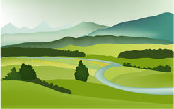 Mountain spring landscape. Vector illustration of green spring landscape Stock Images