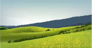 Mountain spring landscape. Vector illustration of green spring landscape Royalty Free Stock Photos