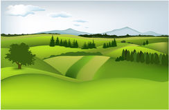 Mountain spring landscape. Vector illustration of green spring hills Royalty Free Stock Photo