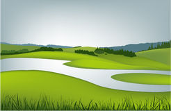 Mountain spring landscape. Vector illustration of green spring hills Stock Photography