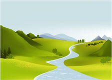 Mountain spring landscape. Vector illustration of green spring hills Stock Photos