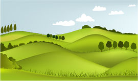 Mountain spring landscape. Vector illustration of green spring hills Royalty Free Stock Images
