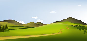 Mountain spring landscape. Vector illustration of green spring hills Royalty Free Stock Image