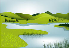 Mountain spring landscape. Vector illustration of green spring hills Royalty Free Stock Photography