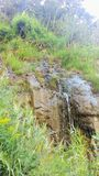 Mountain Spring Running Down Cliff stock images