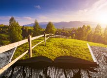 Mountain spring valley on the pages of book Royalty Free Stock Photo