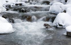 Mountain spring in winter. Boiling and falling water of mountain spring in winter stock photography