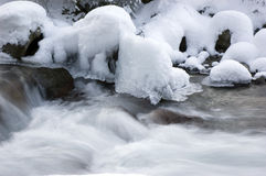 Mountain spring in winter. Stream of mountain spring water in winter royalty free stock photos