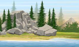 Mountain and spruce forest on the shore of a large lake or river vector illustration