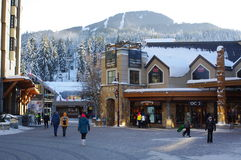 Mountain Square in Whistler ski resort Stock Photos