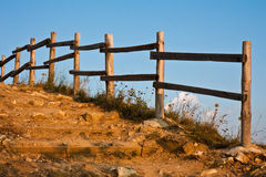 Mountain Staircase and Fence. Staircase with picket fence on a mountain path in Bulgaria Stock Image