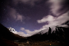 Mountain with star in night time Royalty Free Stock Photo