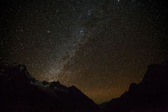 Mountain with star in night time Royalty Free Stock Photos