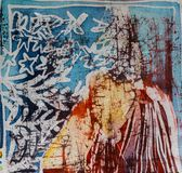 Mountain and stars, hot batik, background texture, handmade on silk, abstract surrealism art stock photos