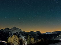 Mountain stars time lapse. Time lapse of the night sky in the mountains with lots of stars