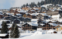 Mountain station in alps. Les saisies, Beaufort, Savoy Royalty Free Stock Image