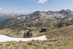 Mountain station of a chairlift in the Ordina Arcalis area in Andorra. Mountain station of a chairlift in the Ordina Arcalis area in the Pyrenees in Andorra Stock Photos
