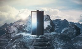 Promotion concept. Mountain steps leading to abstract open door with view on sky background. Promotion concept. 3D Rendering Royalty Free Stock Image