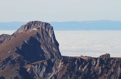 Mountain Stockhorn. With sea of fog, Switzerland royalty free stock photo