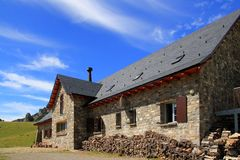 Mountain stone house slate roof in Pyrenees Stock Photography