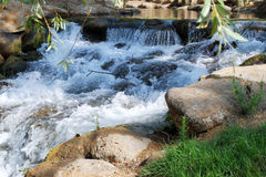 Mountain stream. The small mountain river with waterfalls in the sunny day Stock Images