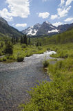 Mountain Stream. River with the Maroon Bells Stock Image