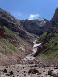 Mountain stream. Stream under snow. Chimgan area in Uzbekistan, spring 2006 Royalty Free Stock Images