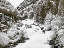 Mountain stream. Slow motion powerful mountain stream in the pyrenees mountains Stock Images