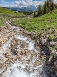 Mountain stream on the Alpe di Siusi Royalty Free Stock Photography