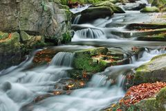 Mountain stream in autumn. Small cascade on autumn mountain stream Royalty Free Stock Photos