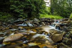Mountain stream. Stream in Beskidy mountains, Poland royalty free stock images