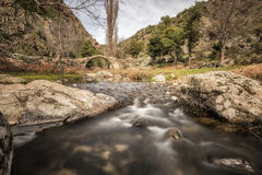 Mountain stream cascading under an ancient Genoese bridge in Cor Stock Images