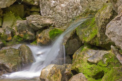Mountain stream with cascading waterfalls Royalty Free Stock Photos