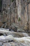 Mountain stream in a deep canyon. Cache la Poudre River, Colorado Stock Photo