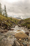 Mountain stream in East Sayan mountains. Stock Photos