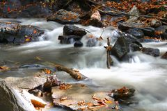 Mountain stream flowing over large rocks Royalty Free Stock Photo