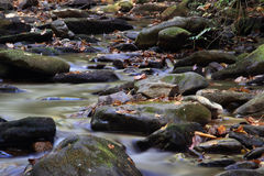 Mountain stream flowing over rocky ground making cascades.  Royalty Free Stock Photos