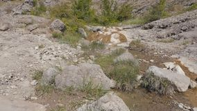Mountain stream flowing through stones stock video