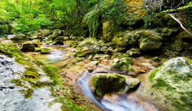 Mountain stream flows on rock bed. Royalty Free Stock Photos