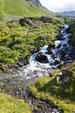 Mountain stream. Flows through the rocks in Alps Royalty Free Stock Photography