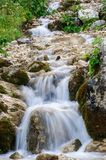 The mountain stream flows throw the stones with a beautiful flow. A view of the mountain stream flowing in cool streams along the rocks among the green grass and Royalty Free Stock Image