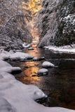 Mountain stream fresh snow, Appalachian Mountains Royalty Free Stock Photos