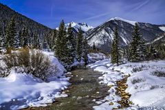 Mountain stream with fresh snow on sunny day royalty free stock photos