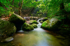 Mountain Stream. Green background and soft trasparences of the water and waterfall motion blur Stock Image