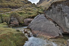 Mountain stream. Hiking in Peru, the stream is running down from  Humantay glacier Stock Photography