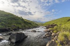 Mountain stream with large rocks. South Africa Royalty Free Stock Photography